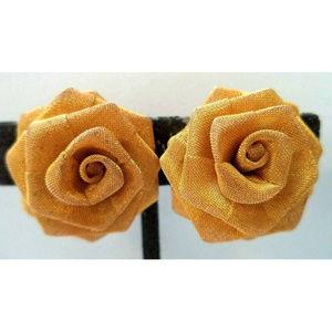 vintage gold rone mesh rose flower clip earrings
